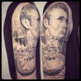 Tattoo Oberarm- James Dean mit Porsche black and grey