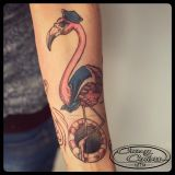 Tattoo Unterarm- Flamingo Comic
