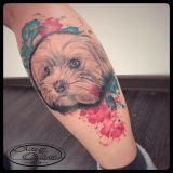 Tattoo Waden- Hundeportrait mit Aquarellook
